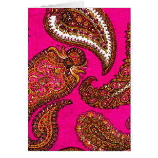 Electric Fuscia Indian Paisley Pink Card