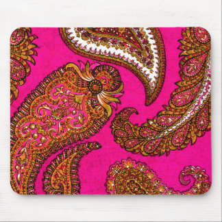 Electric Fuscia Indian Paisley Pink Mouse Mat