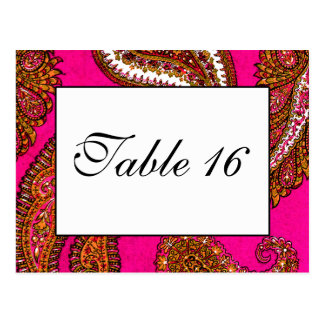Electric Fuscia Paisley Table Numbers Postcard