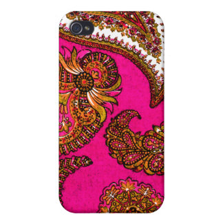 Electric Fuscia Pink Indian Paisley iPhone 4 Covers