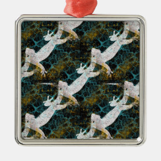 Electric Gecko Pop Art Silver-Colored Square Decoration
