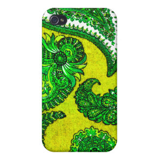 Electric Gold and Green Indian Paisley Covers For iPhone 4