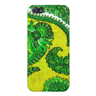 Electric Gold and Green Indian Paisley iPhone 5/5S Cases