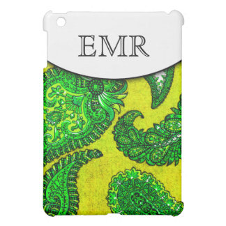 Electric Gold & Green Indian Paisley Monogrammed Cover For The iPad Mini