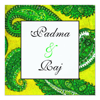 Electric Gold & Green Paisley Wedding Invitation