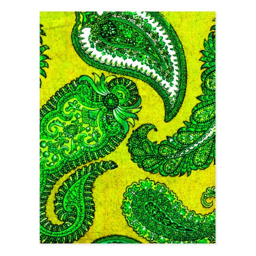 Electric Gold Yellow Green Indian Paisley Post Cards