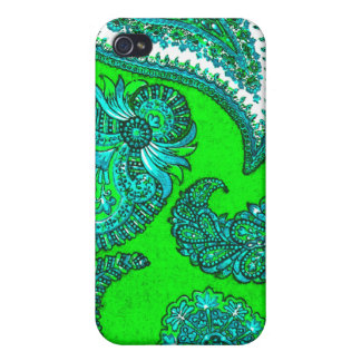 Electric Green and Aqua Indian Paisley Cases For iPhone 4