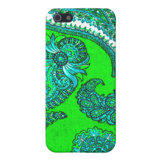 Electric Green and Aqua Indian Paisley iPhone 5/5S Case