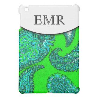 Electric Green & Aqua Indian Paisley Monogrammed iPad Mini Cover