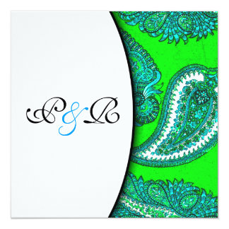 Electric Green & Aqua Paisley Wedding Invitation