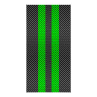 Electric Green Carbon Fiber Style Racing Stripes Photo Card Template