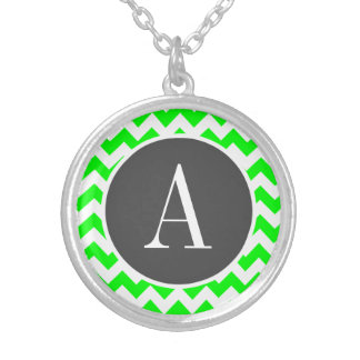 Electric Green Chevron Silver Plated Necklace