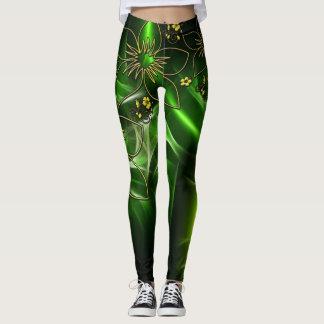 Electric Green Flower Design Leggings