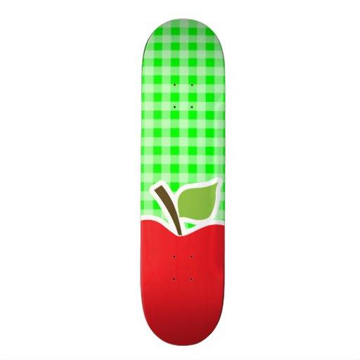 Electric Green Gingham; Apple Skateboard Deck