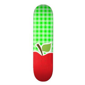 Electric Green Gingham Apple Skateboard Deck