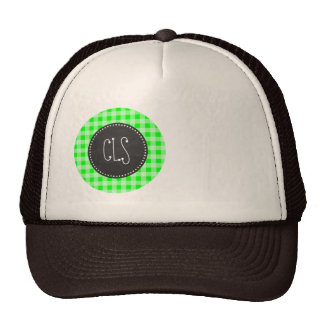 Electric Green Gingham; Checkered Mesh Hat