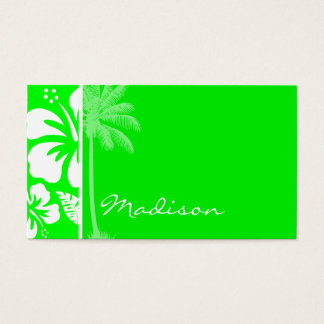 Electric Green Tropical Hibiscus; Palm Business Card