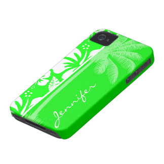 Electric Green Tropical Hibiscus; Palm Case-Mate iPhone 4 Case