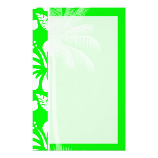 Electric Green Tropical Hibiscus; Palm Customized Stationery