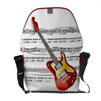 Electric Guitar 02 w/Sheet Music Background ~ Rick Messenger Bag