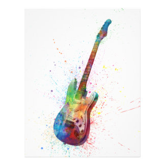 Electric Guitar Abstract Watercolor 21.5 Cm X 28 Cm Flyer