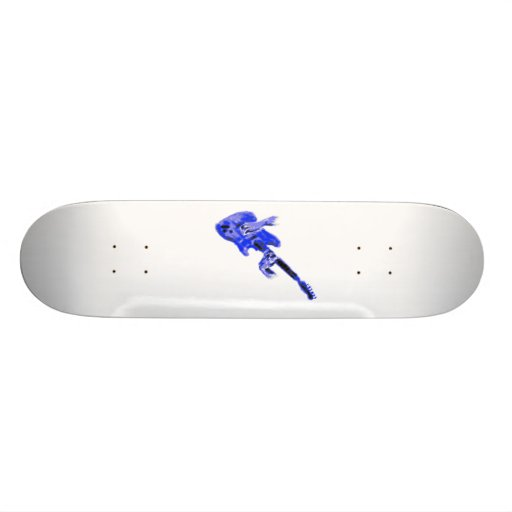Electric Guitar and hands, blue version Custom Skate Board