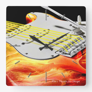 Electric Guitar Art 2 Wall Clocks Options