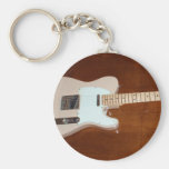 Electric Guitar Basic Round Button Key Ring