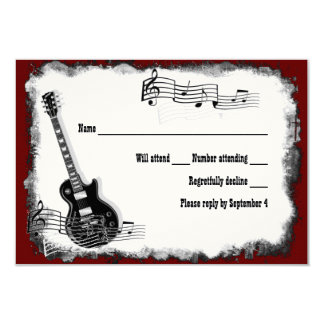 Electric Guitar Black Red Music RSVP Invitation Cards