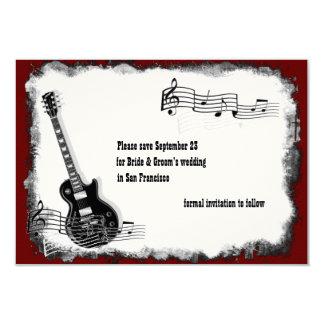 Electric Guitar Black Red Music Save the Date 9 Cm X 13 Cm Invitation Card