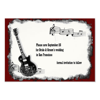 Electric Guitar Black Red Music Save the Date Customized Announcement Cards
