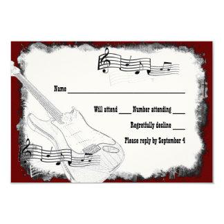 Electric Guitar Black Red White Music RSVP 9 Cm X 13 Cm Invitation Card