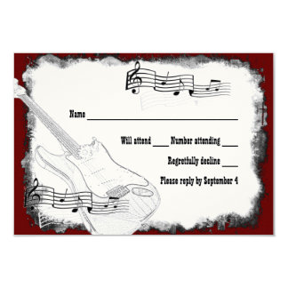Electric Guitar Black Red White Music RSVP Custom Invitation Cards