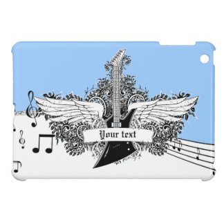Electric guitar black, white, blue with wings case for the iPad mini