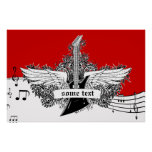 Electric guitar black white red wings print poster