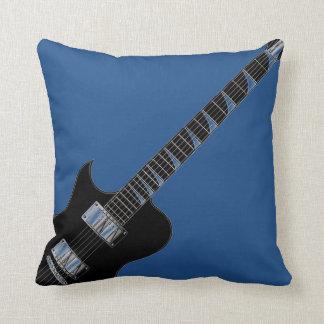 Electric Guitar Blue Black Pop Art Throw Pillow