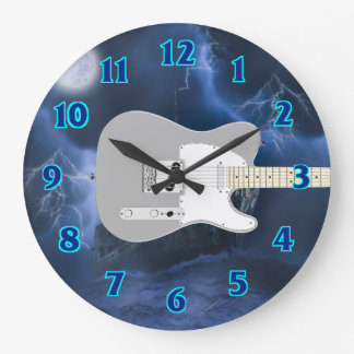 Electric Guitar Blue Large Clock