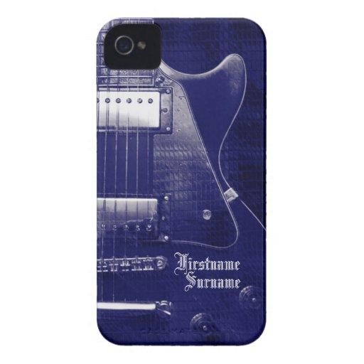 Electric Guitar Blue Metallic iPhone 4 Case-Mate