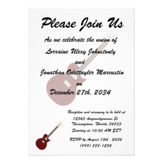 electric guitar burgundy png personalized invitation