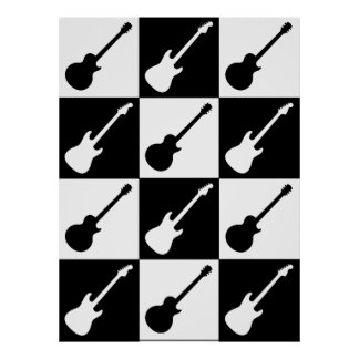 Electric Guitar Checkerboard Posters