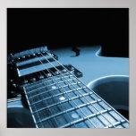 Electric Guitar Close Up - Blue Poster