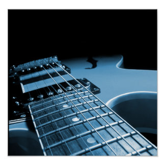 Electric Guitar Close Up - Blue Print
