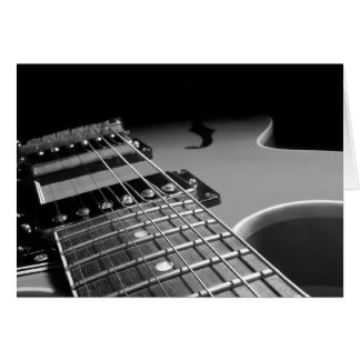 Electric Guitar Close Up - Grey B W Greeting Cards