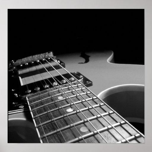 Electric Guitar Close Up - Grey B&W Poster