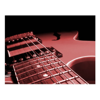 Electric Guitar Close Up Photo 6 String- Red Postcard