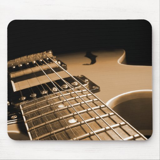 Electric Guitar Close Up - Spicy Orange Mouse Pads