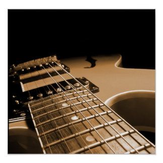 Electric Guitar Close Up - Spicy Orange Poster