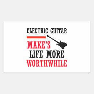 electric guitar design rectangular sticker