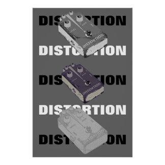 Electric Guitar Distortion Pedal Triple Print