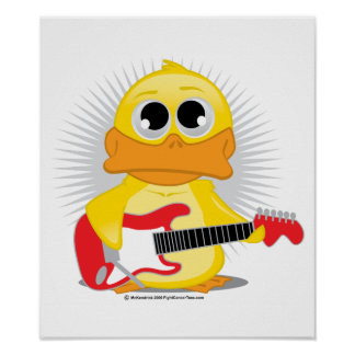 Electric Guitar Duck Poster